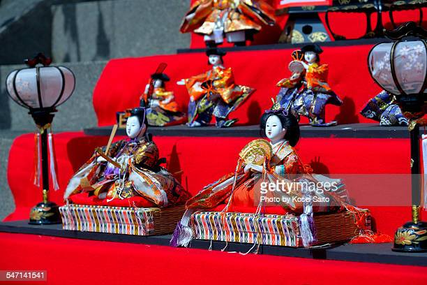an emperor doll with an empress doll - hinamatsuri stock pictures, royalty-free photos & images