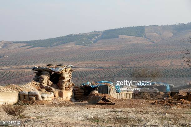 An emplacement is seen after Turkish Armed Forces and Free Syrian Army cleared Dikmetas village in the town of Sharan and Mount Sirghaya from PKK/PYD...