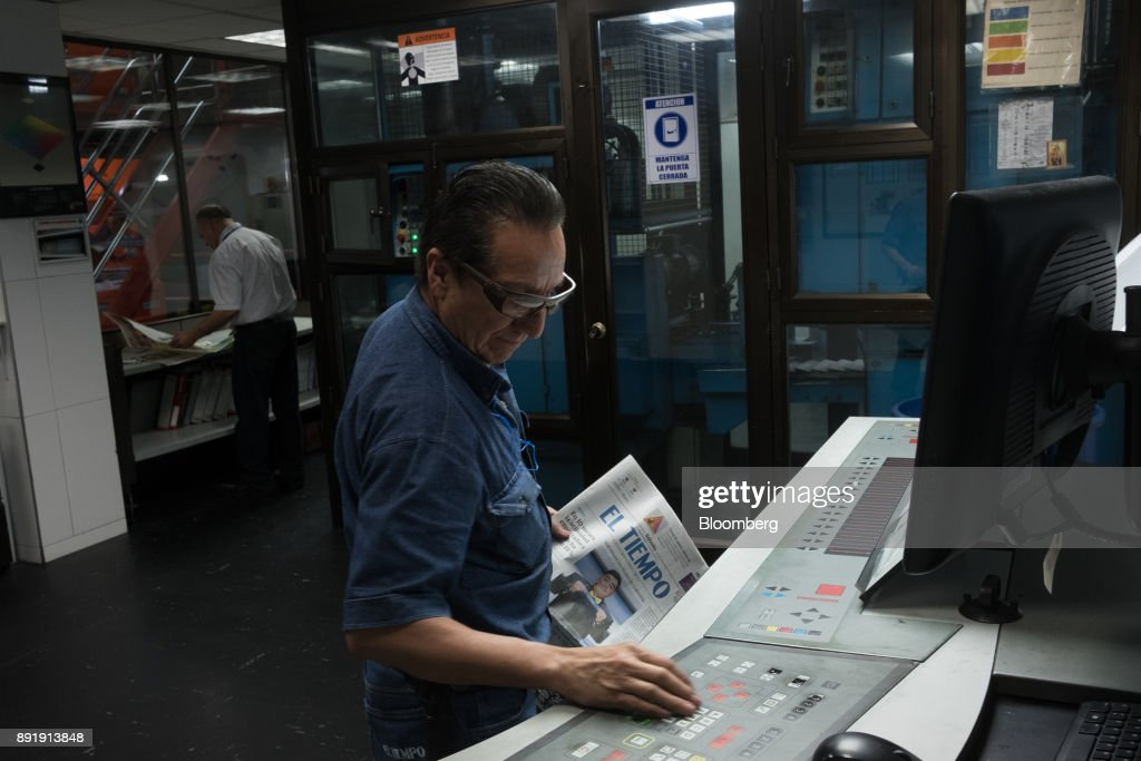 Operations At The Printing Press Of The Country's Highest Circulated Newspaper El Tiempo