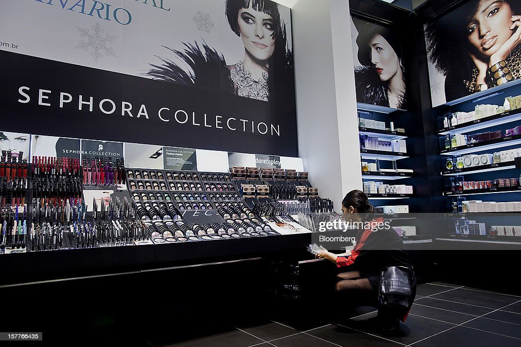 An employee arranges beauty products before the opening of a Sephora SA store at the Riosul shopping mall in Rio de Janeiro, Brazil, on Wednesday, Dec. 5, 2012. Sephora SA, a French beauty product retail chain, opened its first Brazil location earlier this year in July. Photographer: Dado Galdieri/Bloomberg via Getty Images