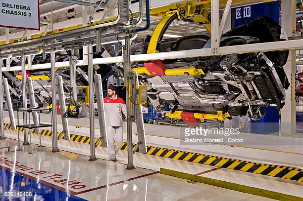 An employee at work on the Assembly Lines where they assemble the Alfa Romeo Giulia in the Cassino Assembly Plant FCA Group on November 24 2016 in...