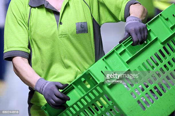 An employee carries a collection crate at the Ocado Group Plc distribution centre in Dordon UK on Friday Dec 16 2016 Ocado provides home delivery of...