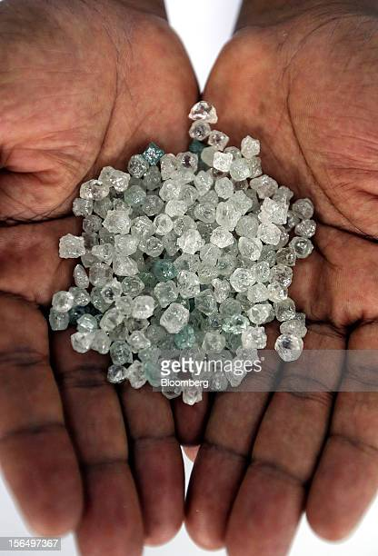 An employee displays a handful of uncut diamonds in this arranged photograph at DTC Botswana a unit of De Beers in Gaborone Botswana on Thursday Oct...