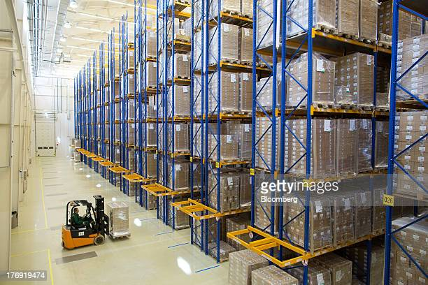 An employee drives a pallet of pharmaceuticals into a storage bay using a forklift truck at OAO Pharmstandard's Leksredstva drug manufacturing unit...