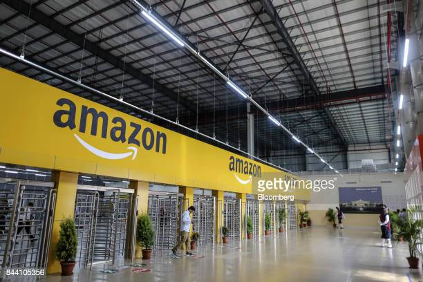 An employee exits the warehouse floor of the Amazoncom Inc fulfillment center in Hyderabad India on Thursday Sept 7 2017 Amazon opened its largest...