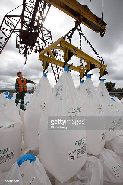 An employee guides a crane loading sacks of potash for distribution at the river port operated by OAO Uralkali in Solikamsk Russia on Sunday Aug 25...