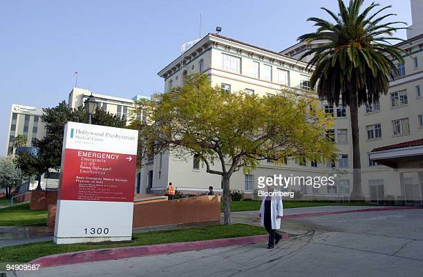 An employee leaves Hollywood Presbyterian Medical Center early Wednesday morning Jan 28 2004 in the Hollywood area of Los Angeles California Tenet...