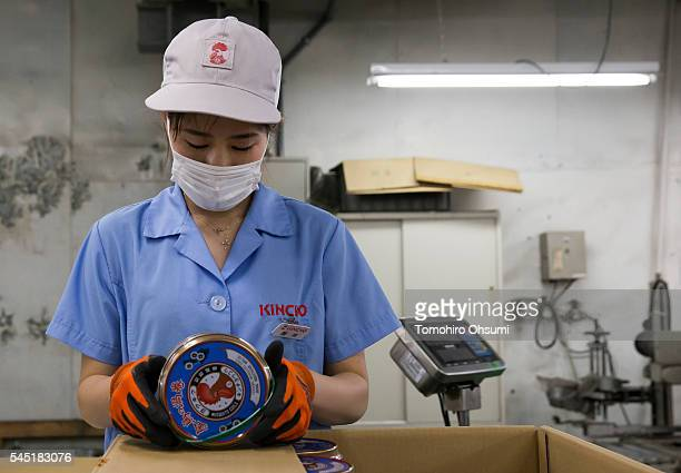 An employee makes a final inspection of a can of mosquito coils at the Kishu Factory of Dainihon Jochugiku Co Ltd on July 6 2016 in Arita Japan...