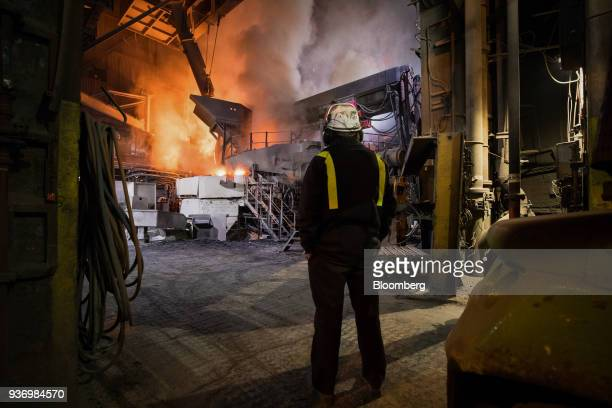 An employee monitors electric arc furnace at Liberty Steel's Aldewerke mill in Rotherham UK on Wednesday March 21 2018 Most metals slumped on the...