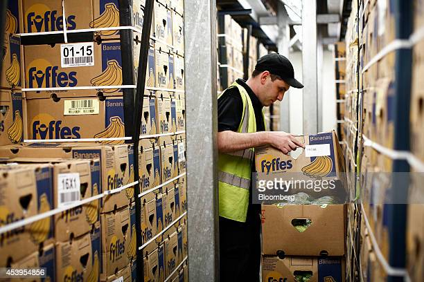 An employee moves boxes containing bunches of bananas, grown by Fyffes Plc to carry out a quality control check at their ripening facility in...