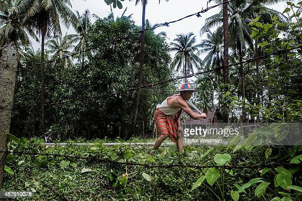 An employee of a coconut farm clears roadside brush in his village near the planned Dawei SEZ on August 4 2015 in Pantininn Myanmar The controversial...
