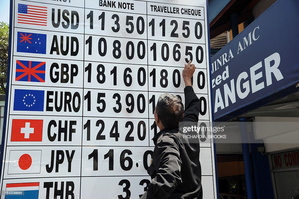 An employee of a money changer adjusts the posted rates on a billboard outside a foreign currency shop in Legion on the Indonesian resort island of Bali on October 11, 2013. Indonesia's central bank held its benchmark interest rate at 7.25 percent on October 8 after recent rises, citing improved domestic conditions and the Fed's decision not to taper off its stimulus programme yet.