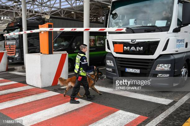 An employee of Eurotunnel and his dog check a truck on his way to Great Britain during a day of test in case of Brexit at the entrance of the Channel...