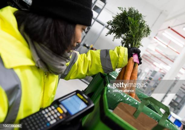 An employee of grocery delivery service Amazon Fresh packs a bunch of carrots into a transport bag at the company depot in Berlin Germany 18 July...