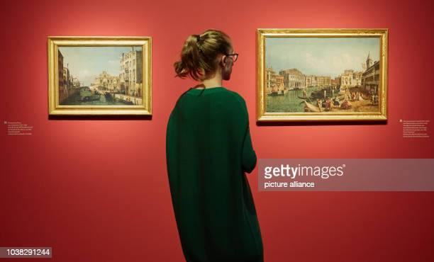 An employee of the gallery looking at the oil paintings 'Ansicht des Rio dei Mendicante und der Scuola di San Marco' around 1741 by Bernardo Belloto...