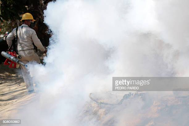 An employee of the Health Secretariat fumigates against the Aedes aegypti mosquito to prevent the spread of the Zika, Chikungunya and Dengue in...