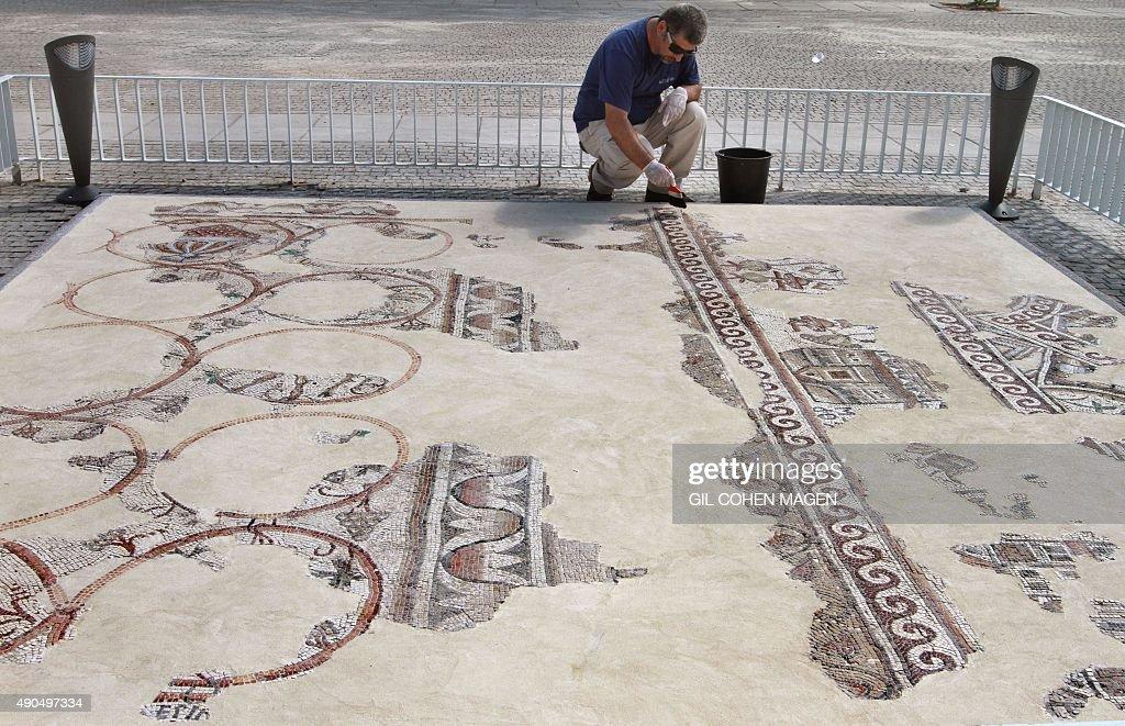 ISRAEL-ARCHAEOLOGY-MOSAIC : News Photo