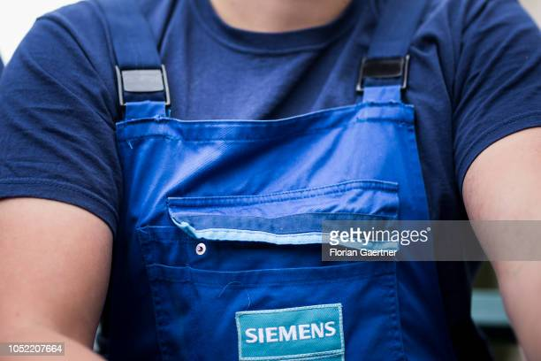 An employee of the Siemens steam turbine factory is pictured on October 15 2018 in Goerlitz Germany