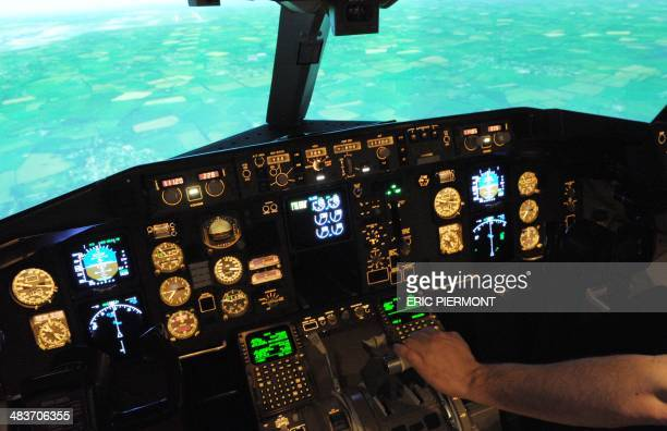 An employee of the SIM Aviation Group, an aviation training organization, checks various controls aboard a flight simulator for Boeing 767-300ER and...