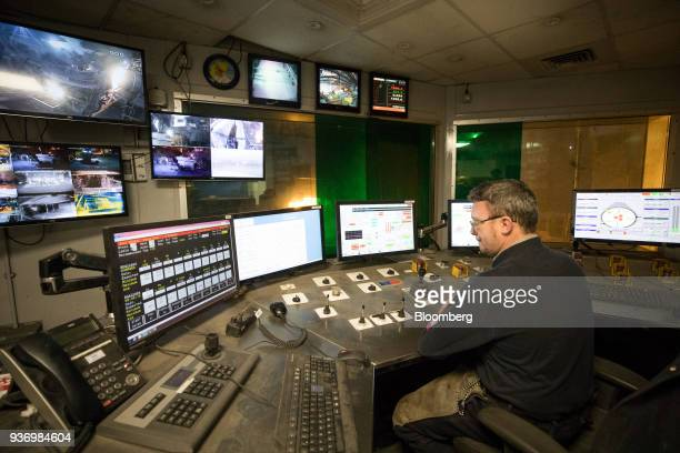 An employee operates the controls in the control room for the electric arc furnace at Liberty Steel's Aldewerke mill in Rotherham UK on Wednesday...