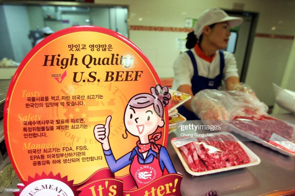 American Beef Returns To South Korean Supermarket Shelves : News Photo