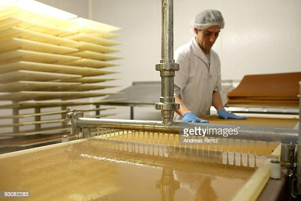 An employee prepares the dominoes cookie dough which runs on an automatic conveyor belt where they are coated with hot fruit jelly at the gingerbread...