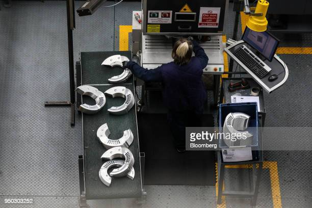 An employee presses metal at Liberty Pressing Solutions in Coventry UK on Monday April 23 2018 Aluminum markets are still reeling from US sanctions...