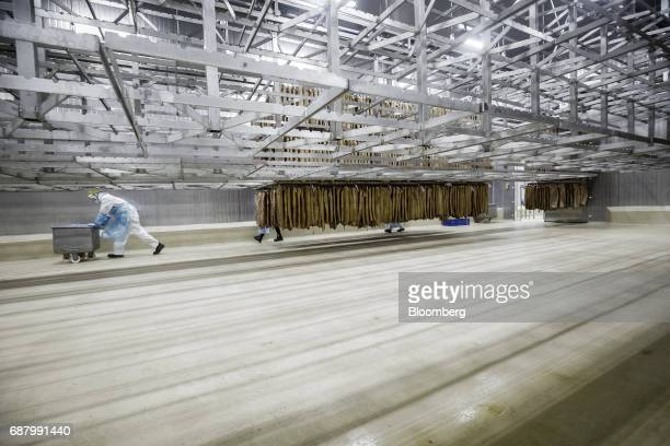 An employee pushes a metal cart past racks of imported Smithfield Foods Inc pork bellies on a production line that processes the pork into bacon at...