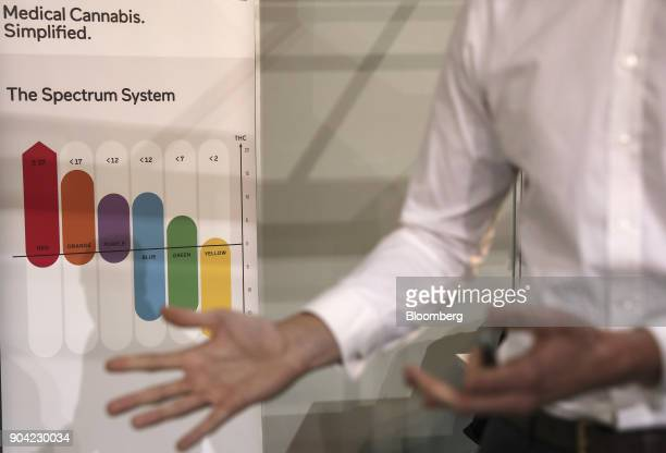 An employee speaks to visitors about the science behind medical cannabis at the 1st International Cannabis Expo at the Faliro Sports Pavilion in...