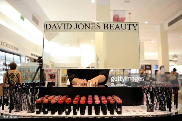 An employee tends to a David Jones Beauty cosmetics counter at a David Jones Ltd department store in Melbourne Australia on Tuesday Feb 9 2010 David...