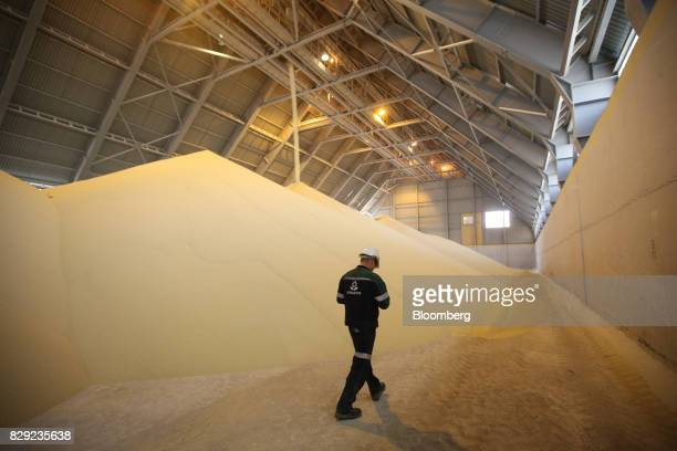 An employee walks by a store of monoammonium phosphate granules inside a storage warehouse at the PhosAgroCherepovets fertilizer plant operated by...