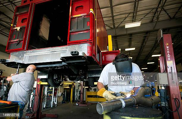 An employee welds a muffler onto the tailpipe of an ambulance at the Horton Emergency Vehicles facility in Grove City Ohio US on Friday Aug 3 2012...
