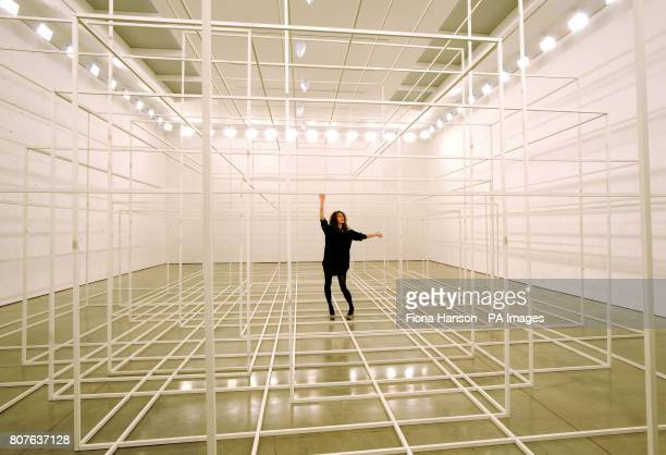 An employee with an installation by Antony Gormley Breathing Room III at the White Cube Gallery in London it is comprised of photoluminescent...