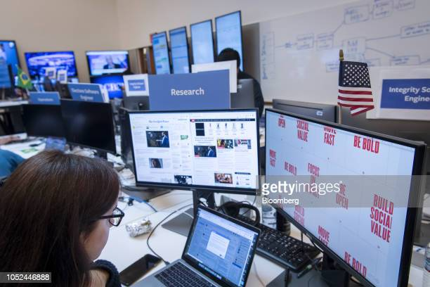 An employee works inside the War Room ahead of Brazil's runoff election at Facebook Inc headquarters in Menlo Park California US on Wednesday Oct 17...