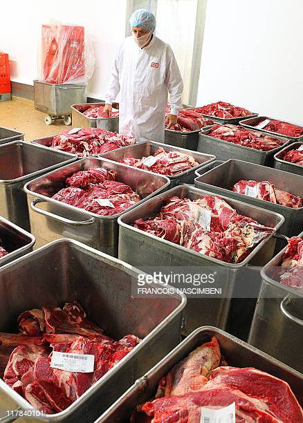 An employee works on June 16 on the frozen ground beef production line at at the French company SEB in SaintDizier eastern France Six children are...