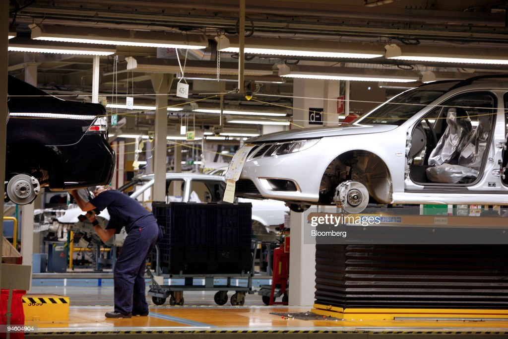 An Employee Works On The Production Line At Saab Automobile Factory In Trollhattan Sweden