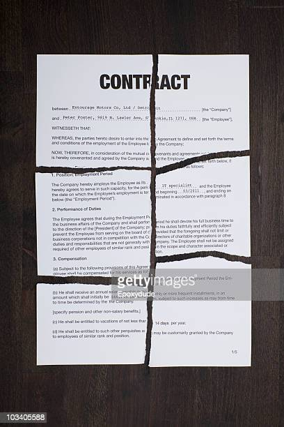 An employment contract torn into pieces