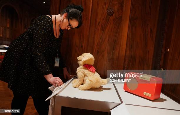 An emplyee does some last minute touch ups on imformation about a Joy for All Companion Pet Dog which is part of the AccessAbility exhibit at the...