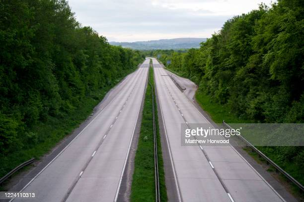 An empty A4232 dual carriageway road during the coronavirus lockdown period on May 10 2020 in Cardiff United Kingdom The UK is continuing with...