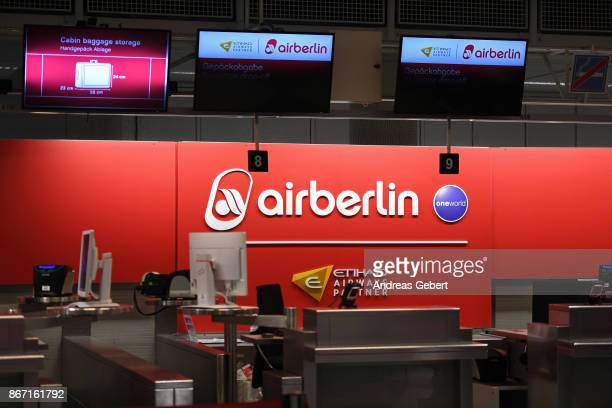 An empty Air Berlin checkin counter is seen at Munich International Airport on October 27 2017 near Munich Germany Flight AB 6210 is the last Air...
