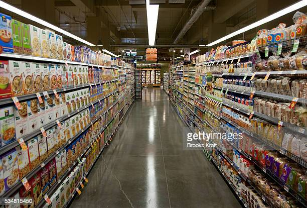 An empty aisle at a Whole Foods supermarket in Chevy Chase Maryland
