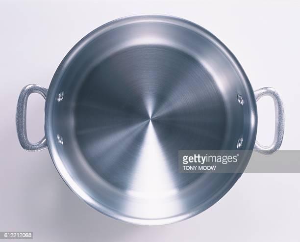 An empty aluminum saucepan