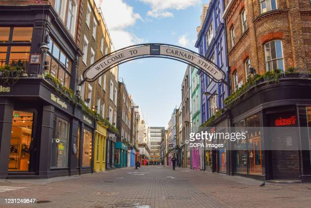 An empty and deserted Carnaby Street in London. Coronavirus cases are falling across the UK, as the government prepares to present its plan for...