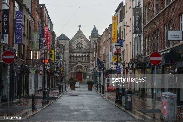 An empty Anne Street in Dublin city center during Level Five Covid-19 lockdown. The Taoiseach Micheal Martin has just confirmed the extension of...
