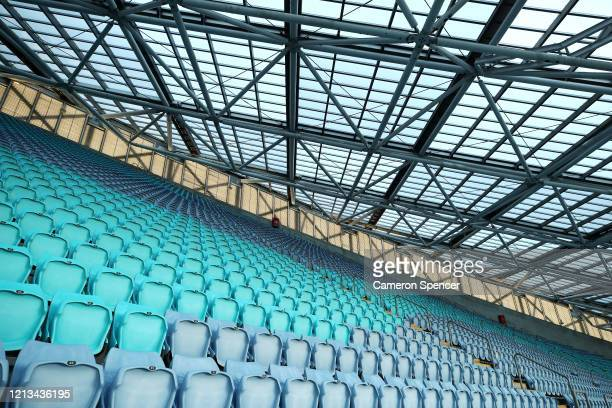 An empty ANZ Stadium ahead of the round 2 NRL match between the Canterbury Bulldogs and the North Queensland Cowboys at ANZ Stadium on March 19, 2020...