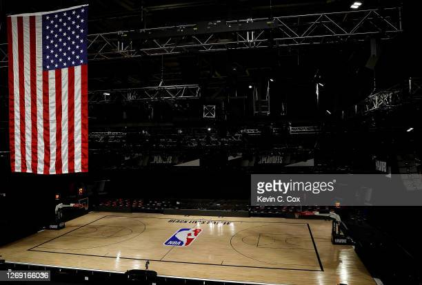 An empty arena is seen as all NBA playoff games were postponed today during the 2020 NBA Playoffs at AdventHealth Arena at ESPN Wide World Of Sports...
