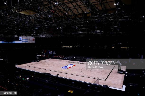 An empty arena is seen as all NBA playoff games were postponed today during the 2020 NBA Playoffs at The Field House at ESPN Wide World Of Sports...
