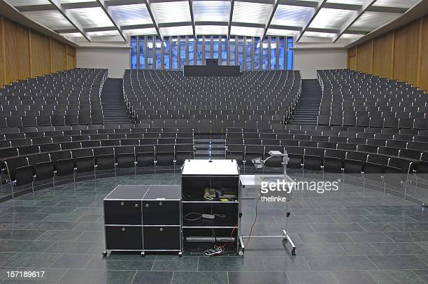 An empty auditorium ready for a class or seminar