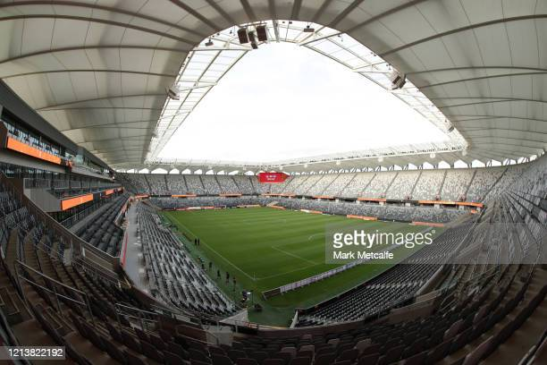 An empty Bankwest Stadium ahead of the round 24 A-League match between the Western Sydney Wanderers and Sydney FC at Bankwest Stadium on March 21,...