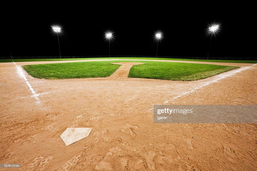an empty baseball diamond with stadium lights in